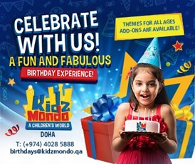 Looking for your child's dream theme and exceptional entertainment? KidzMondo Doha has what you need to plan for your child's next birthday bash!